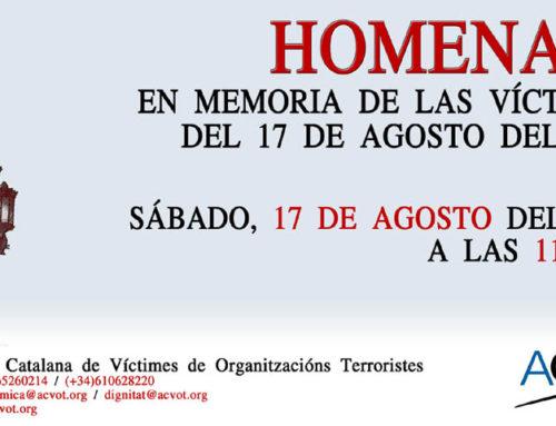 Espanya i Catalans estará en la convocatoria en favor de las Víctimas del Terrorismo