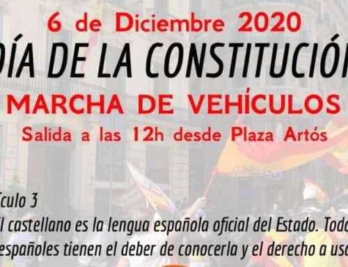 Marcha de vehículos en Barcelona en celebración de la Constitución