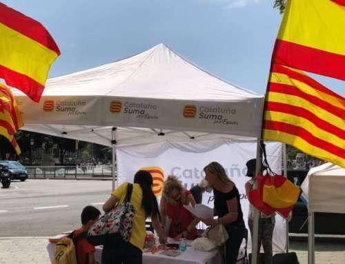 Puesta en marcha de la campaña de carpas Cataluña Suma y de Espanya i Catalans